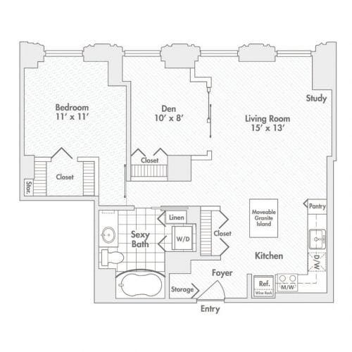One Bedroom, One Bath with a Den (A8)