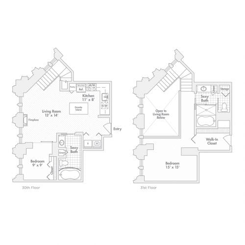 Penthouse – Two Bedroom, Two Bath (C2.1, C2.2)
